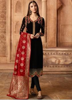Black Embroidered Churidar Designer Suit