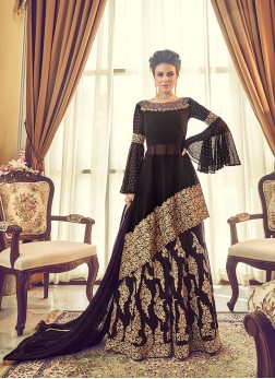 Black Embroidered Kameez Lehenga