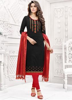 Black Fancy Fabric Casual Churidar Suit