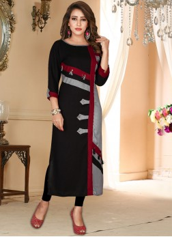 Black Fancy Rayon Party Wear Kurti