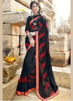 Black Georgette Casual Designer Saree