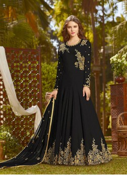 Black Georgette Embroidered Designer Salwar Kameez