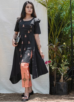 Black Khadi Embroidered Party Wear Kurti