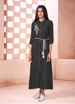 Black Print Party Wear Kurti