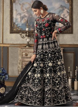 Black Resham Floor Length Anarkali Suit
