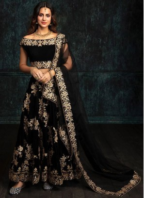 Black Velvet Embroidered Lehengacholi