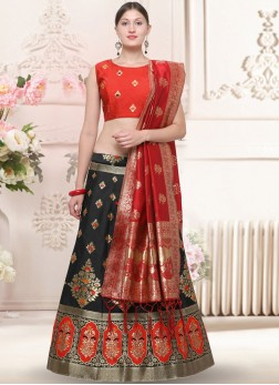 Black Weaving Banarasi Silk Trendy Lehenga Choli