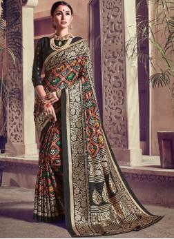 Black Weaving Kanchipuram Silk Trendy Saree