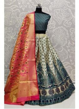 Blazing Bridal Wear Blue Banarasi Silk Lehenga Choli