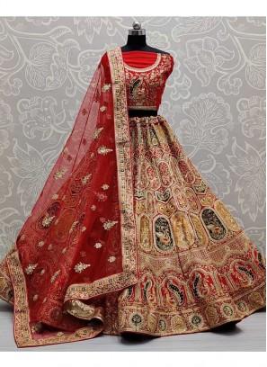 Blissful Bridal Wear Designer Detailed Work On Silk Lehenga Choli In Red