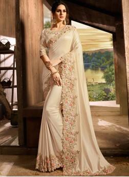 Blooming Embroidered Art Silk Designer Saree