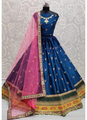 Blooming Embroidered on Silk Designer Girlish Blue Lehenga Choli