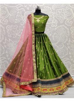 Blooming Embroidered on Silk Designer Girlish Firozi Lehenga Choli