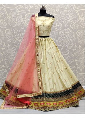 Blooming Embroidered on Silk Designer Girlish Off white Lehenga Choli