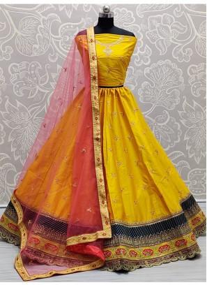 Blooming Embroidered on Silk Designer Girlish Yellow Lehenga Choli
