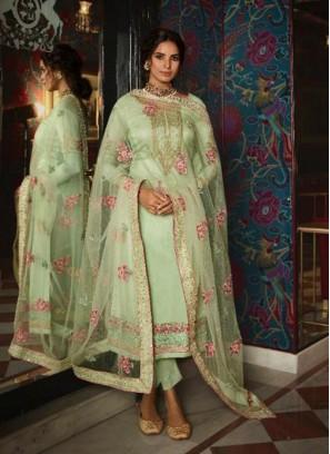 Blooming Tussar Silk Designer Pakistani Suit