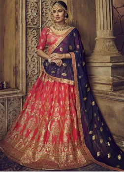 Blue and Rose Pink Zari Art Silk Lehenga Choli