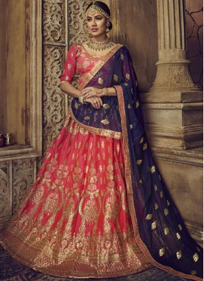 Blue and Rose Pink Zari Art Silk Lehenga Choli