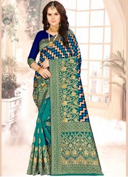 Blue and Sea Green Color Half N Half Designer Saree