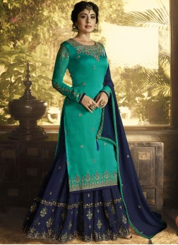 Blue and Sea Green Embroidered Designer Pakistani Suit