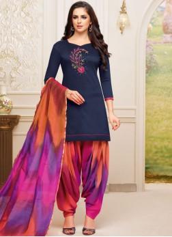 Blue Art Silk Festival Designer Patiala Suit