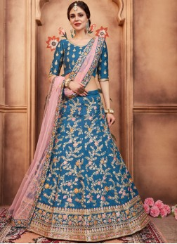 Blue Art Silk Zari Lehenga Choli