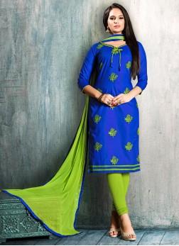 Blue Casual Cotton Churidar Suit