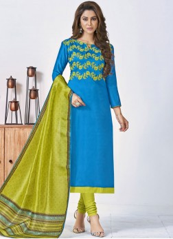 Blue Cotton Churidar Designer Suit