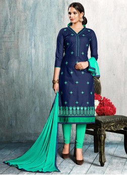 Blue Cotton Embroidered Churidar Suit