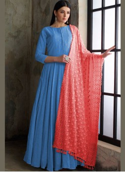 Blue Cotton Fancy Readymade Anarkali Suit