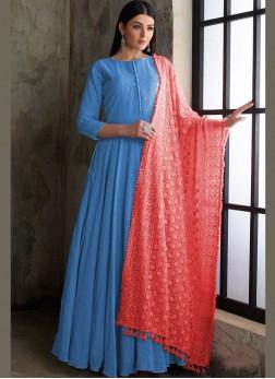 Blue Cotton Fancy Readymade Anarkali Suit