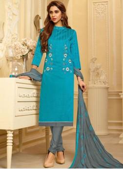 Blue Cotton Festival Churidar Suit