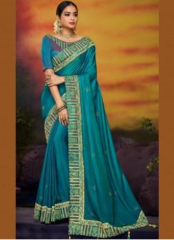 Blue Embroidered Art Silk Designer Traditional Saree