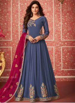 Blue Embroidered Wedding Trendy Anarkali Salwar Suit