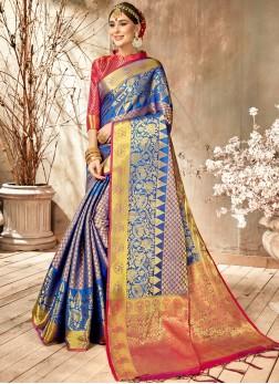 Blue Festival Art Silk Classic Saree