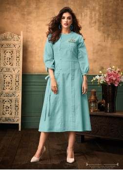 Blue Festival Cotton Satin Designer Kurti