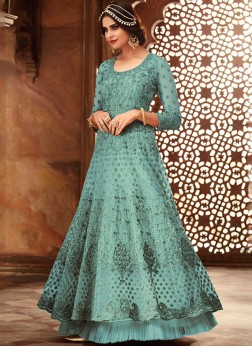 Blue Festival Net Floor Length Anarkali Suit