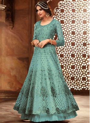 Blue Festival Net Floor Length Anarkali Suit