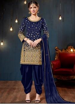 Blue Festival Tafeta Silk Designer Patiala Salwar Kameez