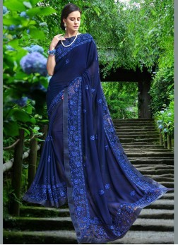 Blue Georgette Designer Saree