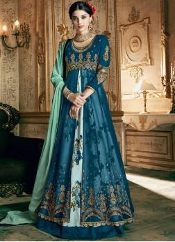 Blue Georgette Embroidered Designer Lehenga Choli
