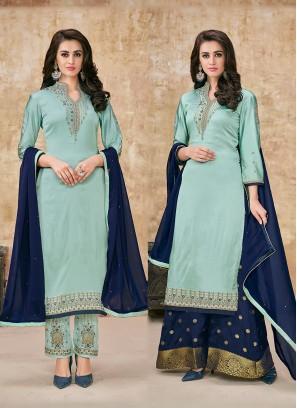 Blue Georgette Satin Designer Suit