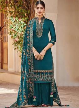 Blue Handwork Silk Designer Palazzo Suit