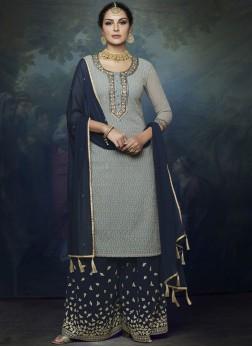 Blue Lace Festival Designer Palazzo Suit