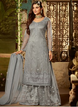 Blue Net Party Designer Pakistani Suit