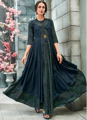 Blue Party Faux Georgette Readymade Gown