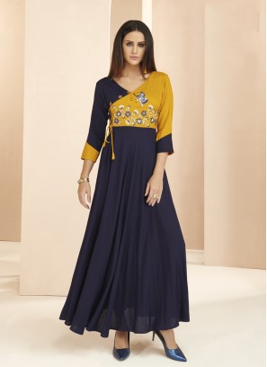 Blue Patchwork Party Wear Kurti