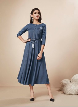 Blue Print Festival Party Wear Kurti