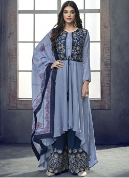 Blue Rayon Resham Readymade Suit