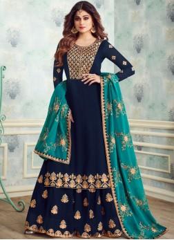 Blue Sangeet Georgette Designer Salwar Kameez